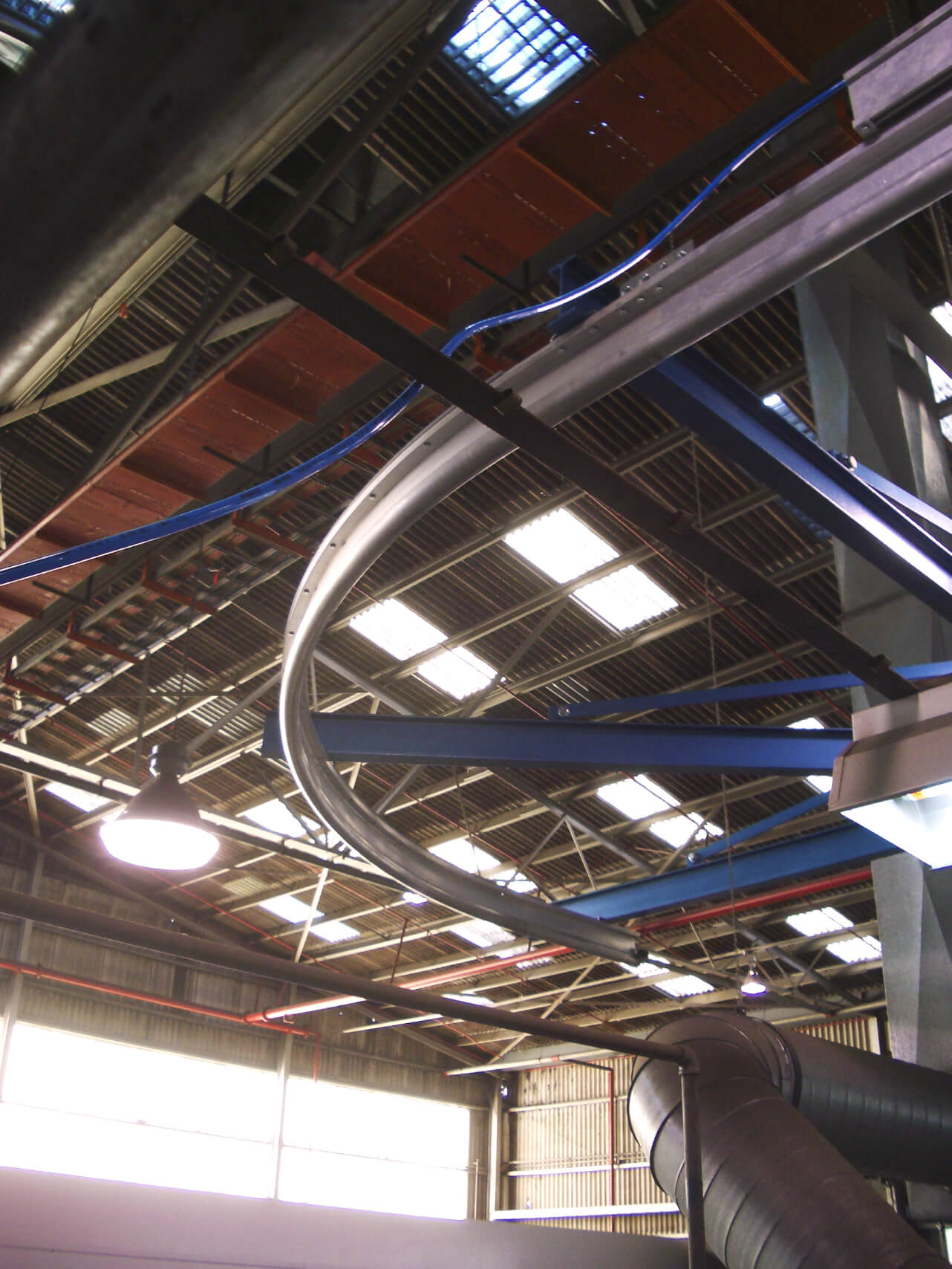 Monorail Crane System In Warehouse With Skylights